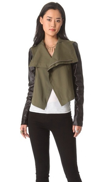 army green jacket with leather sleeves | Gommap Blog
