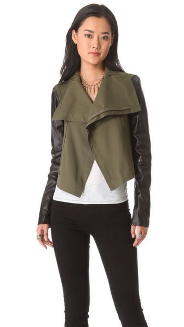 Jacket: leather jacket, leather sleeves, army green jacket, olive ...