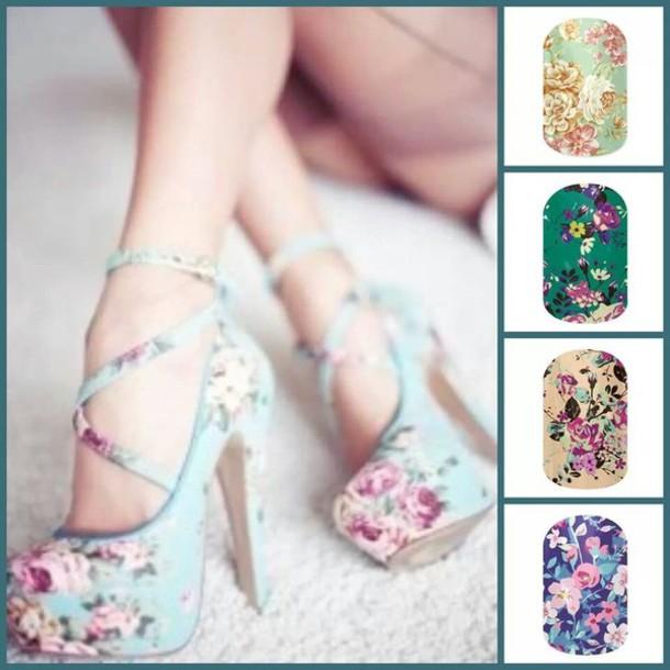 shoes heels floral stilettos