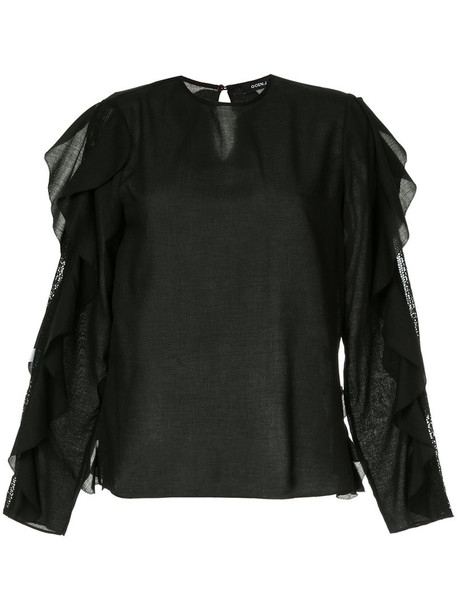 GOEN.J blouse ruffle women cotton black top