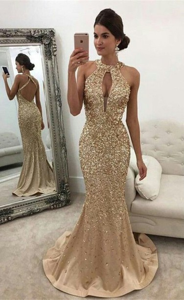 dress mermaid prom dress backless prom dress