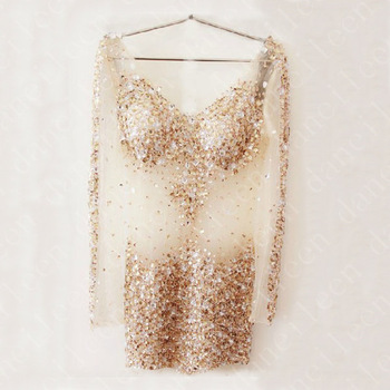 Freeshipping! st001 sexy short mini silver gold v neck bling beaded sexy see through long sleeves party crystal cocktail dress