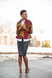 skinny hipster,blogger,pencil skirt,african print,make-up,top,jacket,skirt,shoes