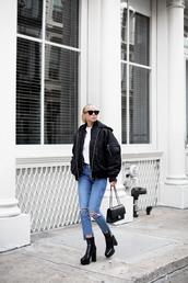 victoria tornegren,blogger,sunglasses,t-shirt,shoes,jeans,jacket,bag,bomber jacket,high heels boots,chanel bag