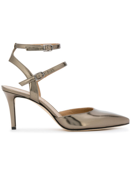 Marc Ellis strappy women pumps leather grey metallic shoes