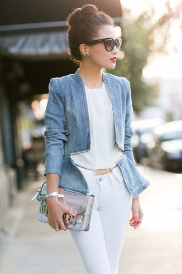 jacket denim denim jacket pants bag blouse jeans peplum blue white