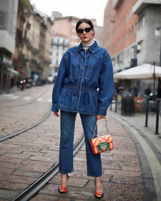 jeans denim jacket denim blue jeans all denim sunglasses cat eye shoes bag