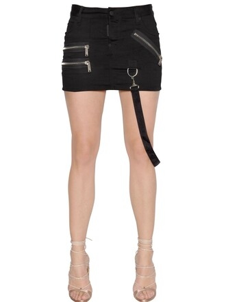 skirt mini skirt denim mini zip cotton black