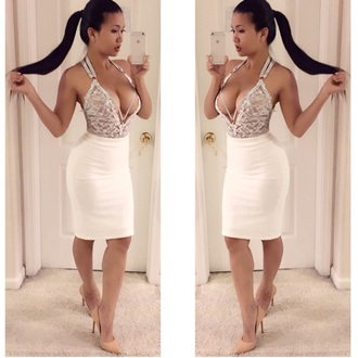 blouse top midi skirt lace dress bodysuit fashion style white white dress white skirt pretty