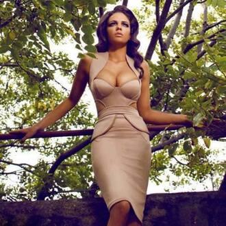 dress nude peplum cut-out classy low cut pencil dress knee length dress cream dress gold dress caramel dress peach dress