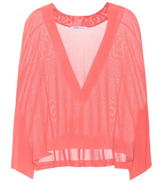 Agnona Jersey V-neck sweater in pink