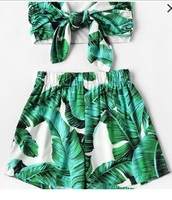 romper,girly,girly wishlist,green,leaf print,cute,two-piece,matching set,crop tops,cropped,crop,shorts,bandeau top