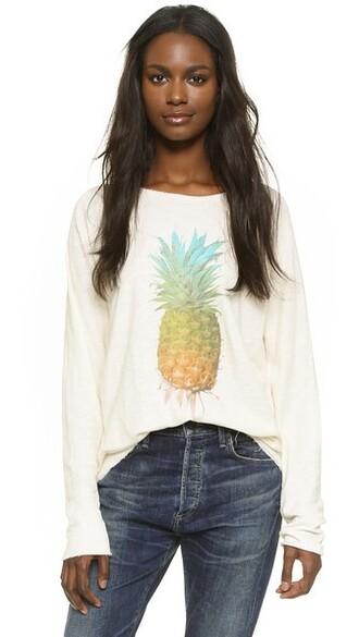 shirt rainbow pineapple pearl top