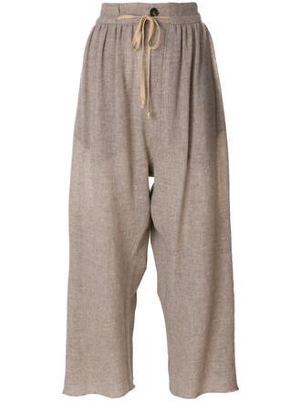cropped women nude wool pants