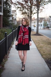 something delightful,blogger,scarf,skirt,shoes,jewels,bag,shoulder bag,winter outfits,fall outfits,high heel pumps,striped scarf
