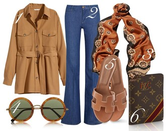 by funda blogger 70s style rust retro round sunglasses louis vuitton printed scarf slip on shoes flare pants flare jeans
