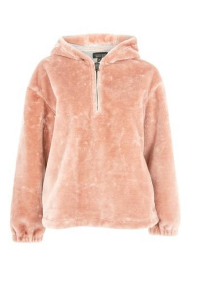 Topshop hoodie fur faux fur pink sweater