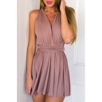 dress chiffon rose wholesale backless halter neck chic v neck dress style pink lipstick