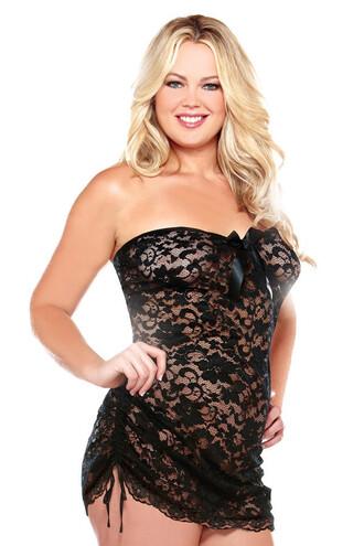 dress matching thong curve strapless lace dress scallop trim
