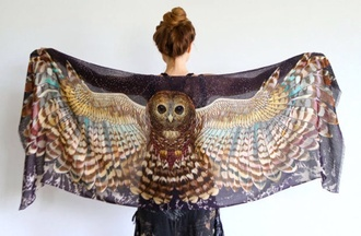 blouse owl shall coverup owls scarf feathers boho printed scarf