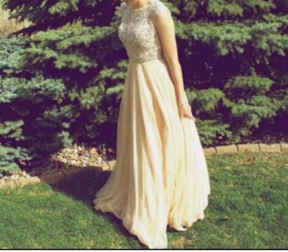dress flowy jewels prom high neck vintage yellow cap sleeves beading