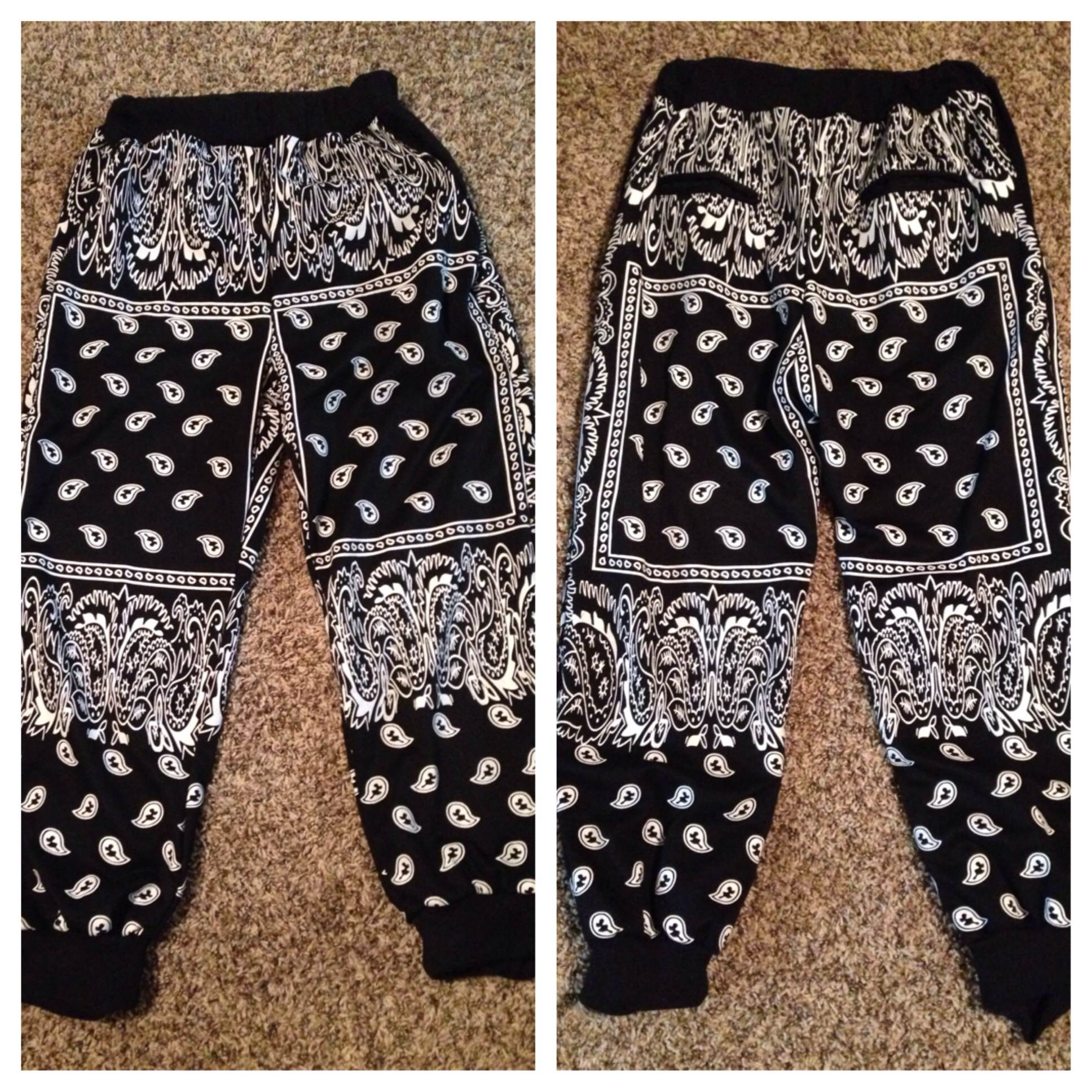 Black bandana joggers from thug fashion on storenvy