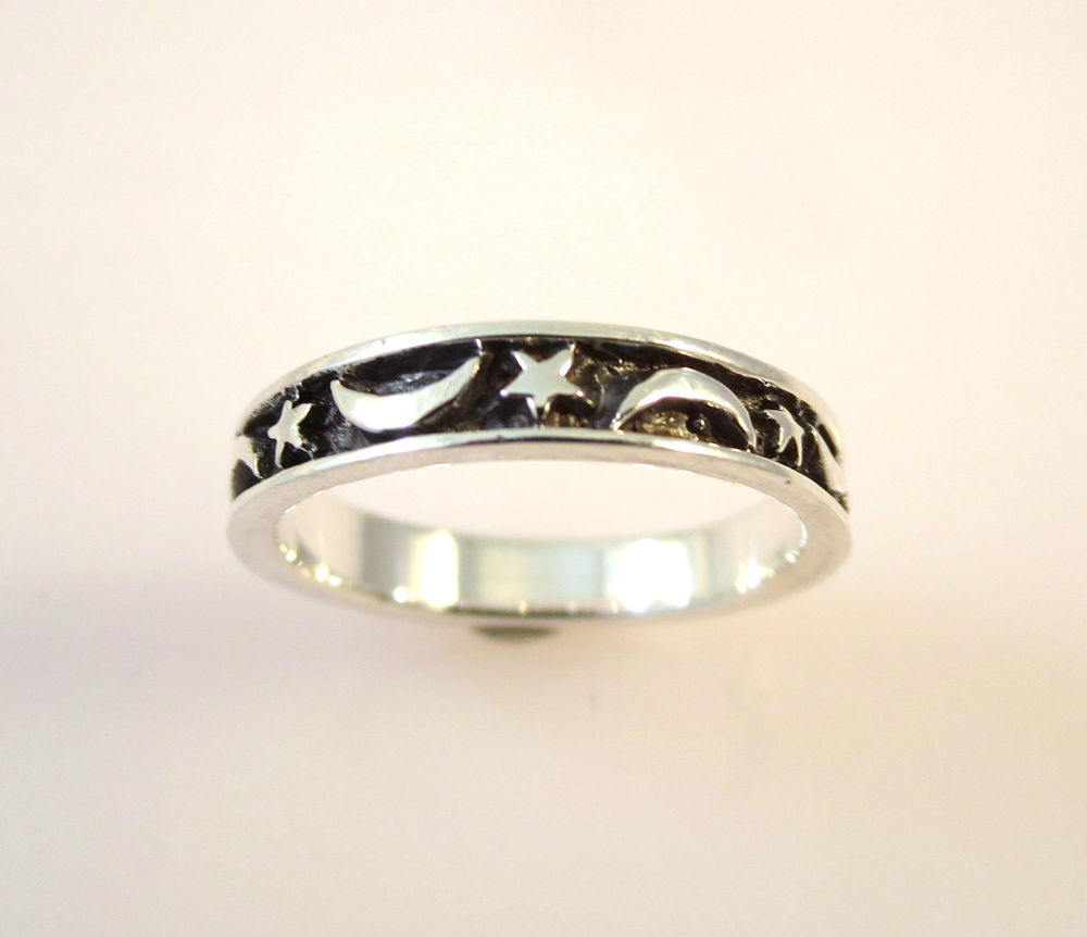 925 Sterling Silver Star Moon Band Ring Size 4 5 6 7 8 Stack New 04179 | eBay