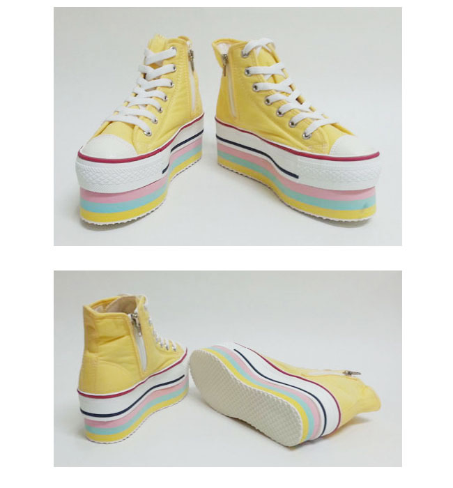 Women 6 Color Canvas Platform Sneakers Black/White/Pink/Red/Yellow/Blue UK3-5.5 | eBay