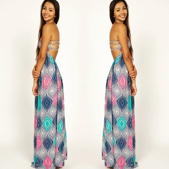 dress divergence clothing rainbow dress maxi dress open back dresses party dress streetstyle summer dress indah clothing long open back dress maxi pretty dress! boho cute summer dress festival dress festival