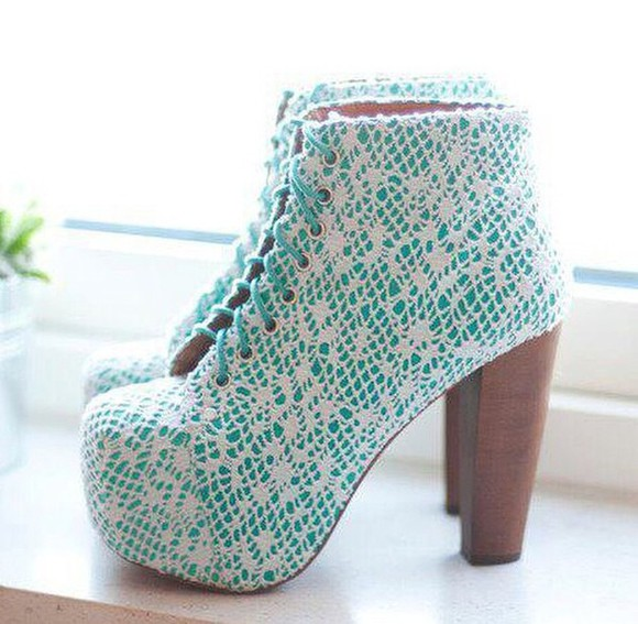 shoes turquoise high heels chunky heels boots booties
