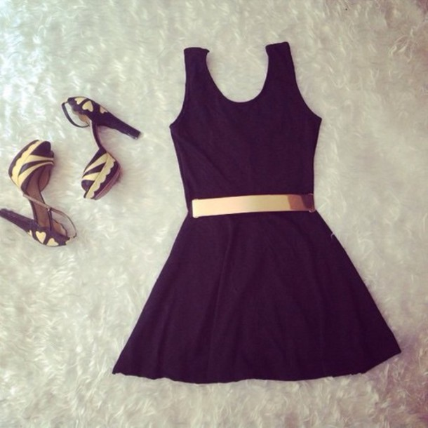 dress gold belt gold black black dress