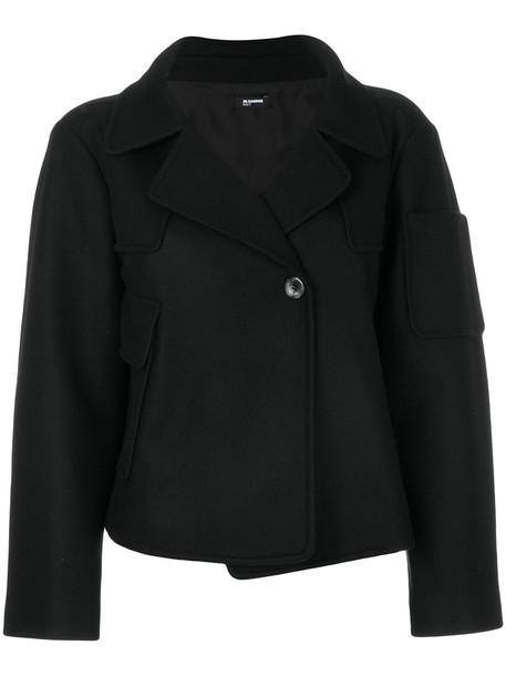 Jil Sander Navy jacket short double breasted women black wool