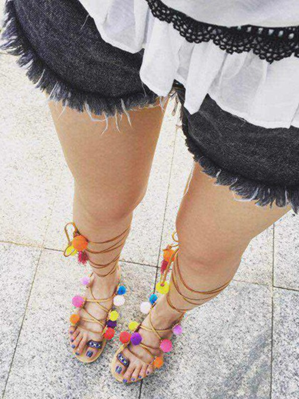shoes girl girly girly wishlist sandals cute flat sandals tie up tied up heels pom poms strappy sandals lace up