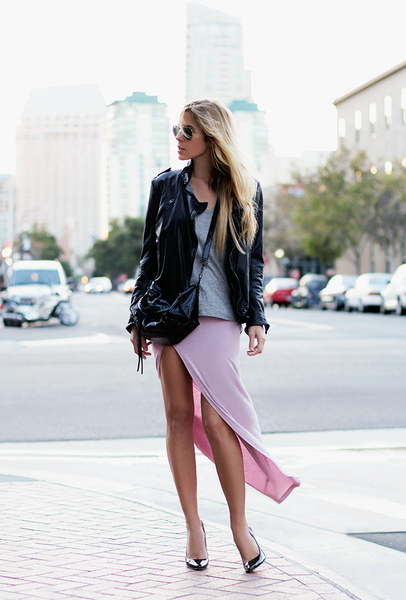 Lilac / purple ruched jersey slit maxi skirt