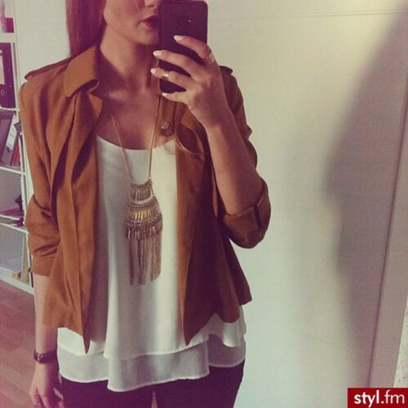 jacket brown jacket white blouse