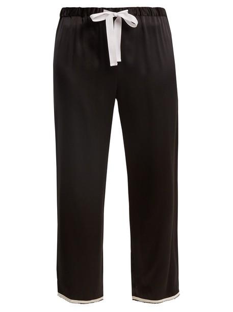 MORGAN LANE cropped silk black pants
