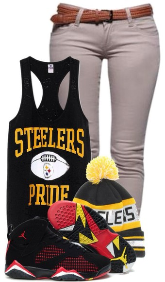 black tank top shoes hat steelers football team football football shirts yellow jordans beenie