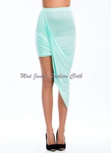 Sexy Medium Mint Draped Front Wraped Asymmetrical Mini Skirt | eBay