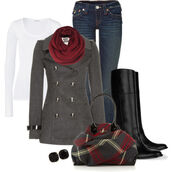 jacket,pea coat,boots,jeans,white shirt,pag,grey,clothes,scarf,red,coat