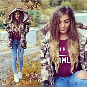 shoes ril fall outfits tumblr girl sweater ombre hair jeans ripped jeans army green jacket burgundy style white white sneakers