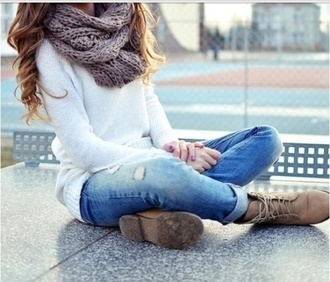 shoes lace up sneakers high heels scarf knitted scarf sweater white sweater jeans ankle jeans capris infinity scarf grey scarf oversized sweater ripped jeans fall outfits blouse white shirt white blouse boots brown shoes brown boots holes jeans holed jeans style