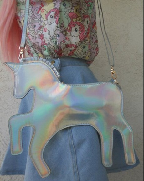 funny accessories grunge bag unicorn shiny purse