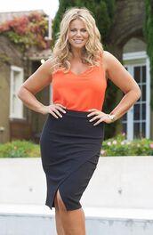 skirt,fiona falkiner,model,curvy,plus size,wrap skirt,black skirt,top,orange top,office outfits