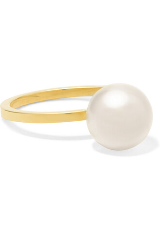 pearl ring gold white jewels