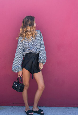 shorts posse leather leather shorts high waisted black shorts gingham clutch