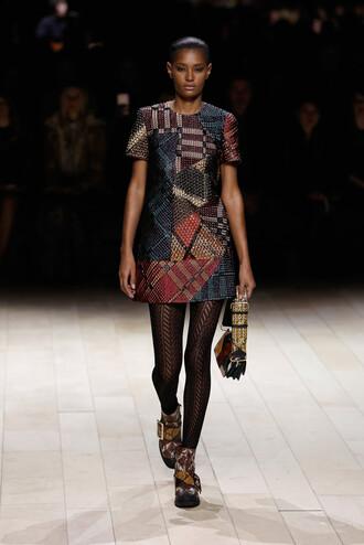dress mini dress fashion week 2016 london fashion week 2016 tights runway model burberry