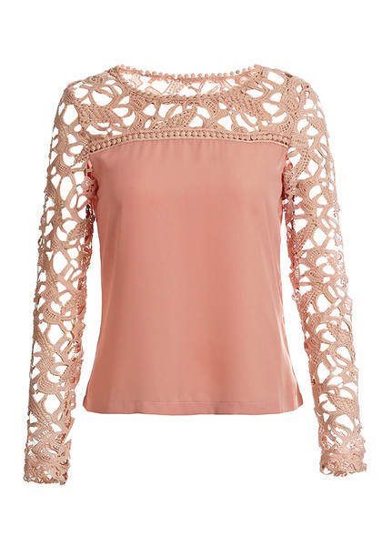Neutral Pink Crochet Shoulder - Top | Lookbook Store