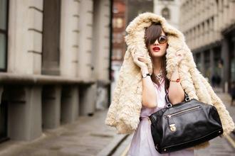 meet me in paree blogger fur coat black leather bag