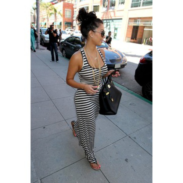 dress black and white black and white dress long dress kim kardashian