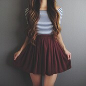 skirt,burgundy,burgundy skirt,cute skirt,cute,t-shirt,women t shirts,skater skirt,stripes,striped top,beautiful,chic,style,shirt,bordeau,rayer,rayure,jupe,long hair,red,dark red,short skirt,high waisted skirt,high waisted,wine red,strings,crop tops,black and white,maroon flowy skirt,blue striped top,tumblr outfit,maroon/burgundy,cute outfits,flowy,pretty,pleated skirt,white crop tops,white,black,top,bergundy,circle skirt,striped crop top,tumblr,cool,teenagers,summer,fall outfits,back to school